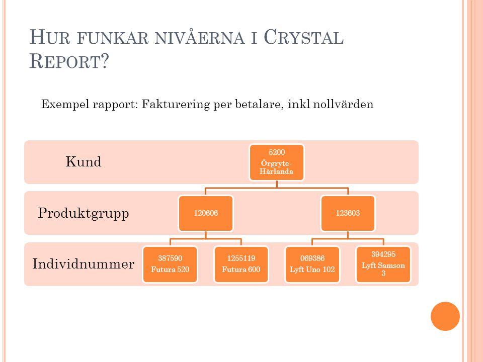 Hur funkar nivåerna i Crystal Report