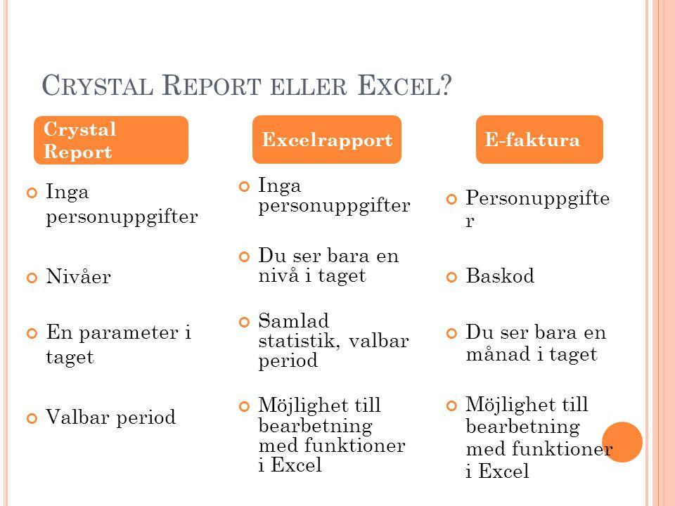 Crystal Report eller Excel