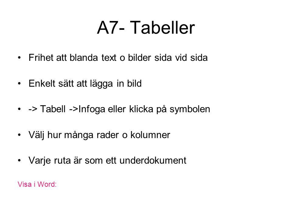 A7- Tabeller Frihet att blanda text o bilder sida vid sida