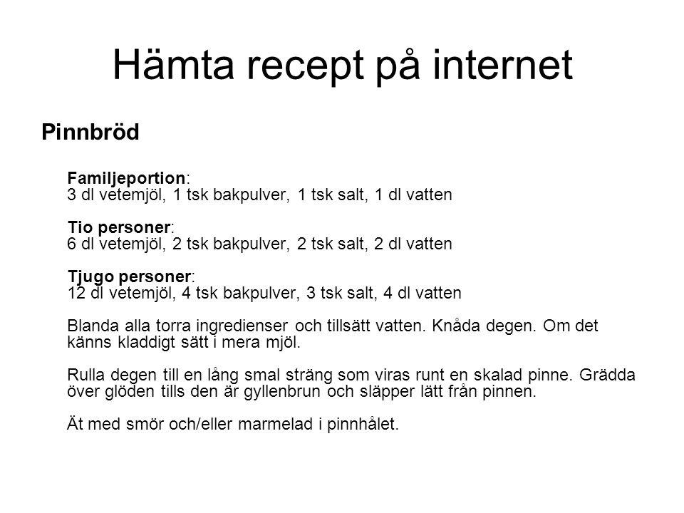 Hämta recept på internet