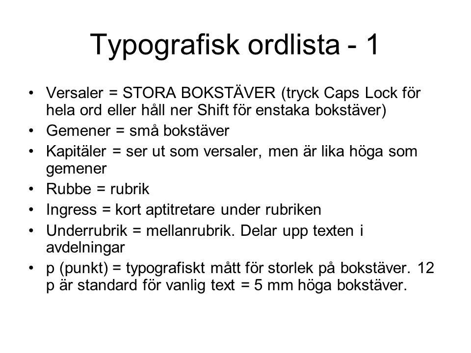 Typografisk ordlista - 1