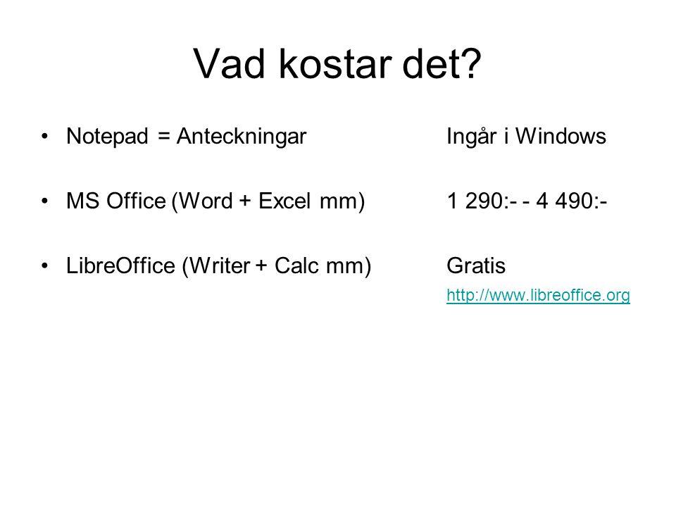 Vad kostar det Notepad = Anteckningar Ingår i Windows