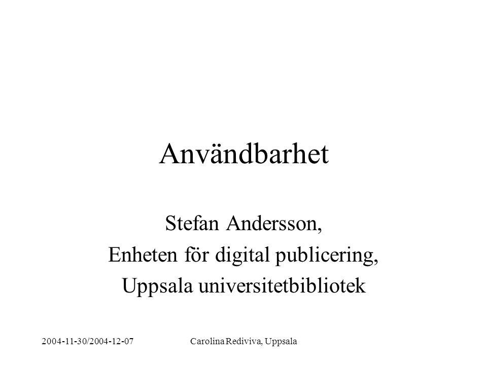 Användbarhet Stefan Andersson, Enheten för digital publicering,