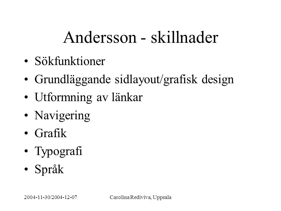 Andersson - skillnader