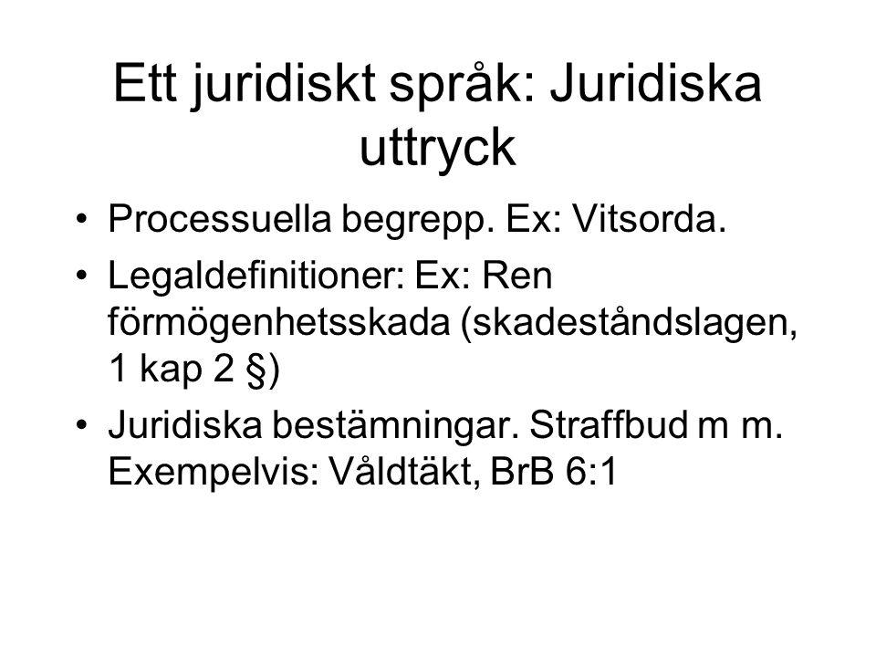 Ett juridiskt språk: Juridiska uttryck