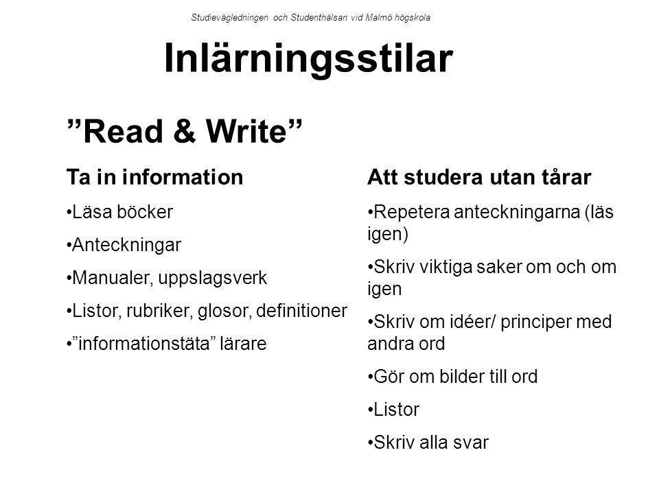Inlärningsstilar Read & Write Ta in information