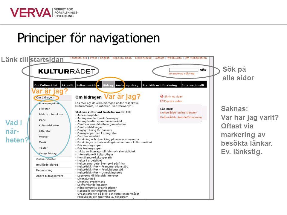 Principer för navigationen