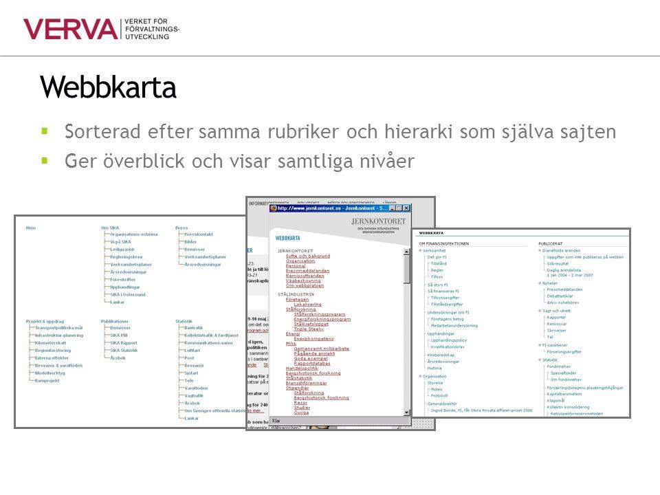 Webbkarta Sorterad efter samma rubriker och hierarki som själva sajten