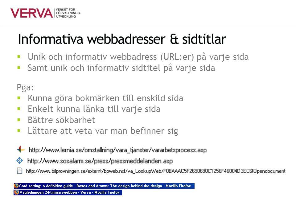 Informativa webbadresser & sidtitlar