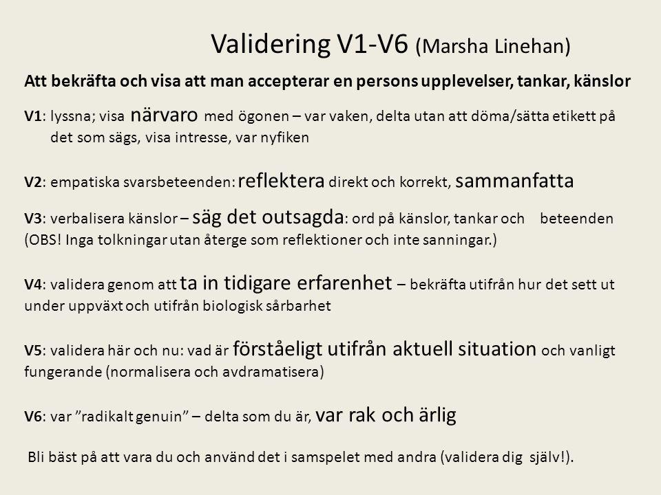 Validering V1-V6 (Marsha Linehan)