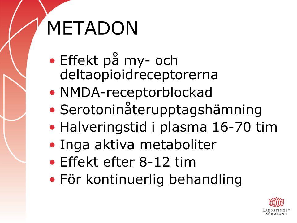 METADON Effekt på my- och deltaopioidreceptorerna NMDA-receptorblockad