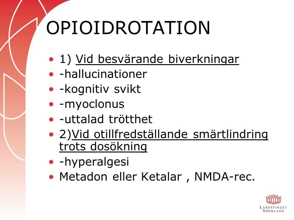 OPIOIDROTATION 1) Vid besvärande biverkningar -hallucinationer