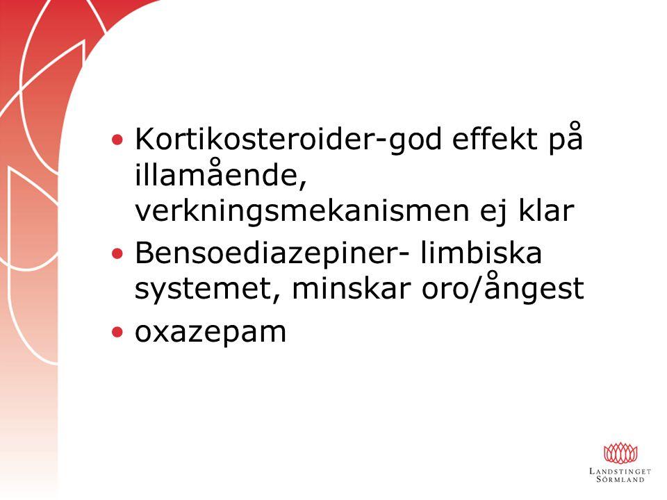 Kortikosteroider-god effekt på illamående, verkningsmekanismen ej klar