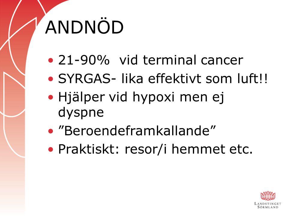 ANDNÖD 21-90% vid terminal cancer SYRGAS- lika effektivt som luft!!