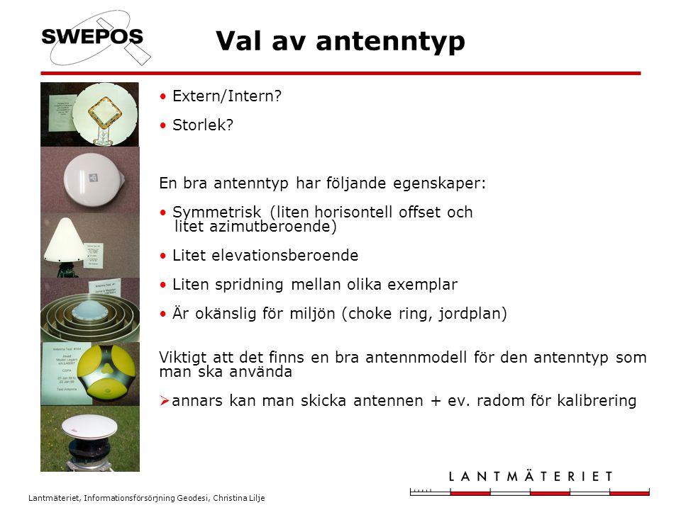 Val av antenntyp Extern/Intern Storlek