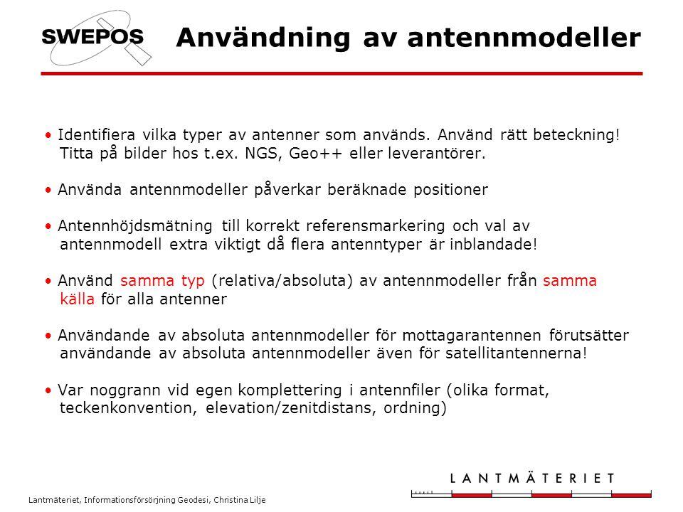 Användning av antennmodeller