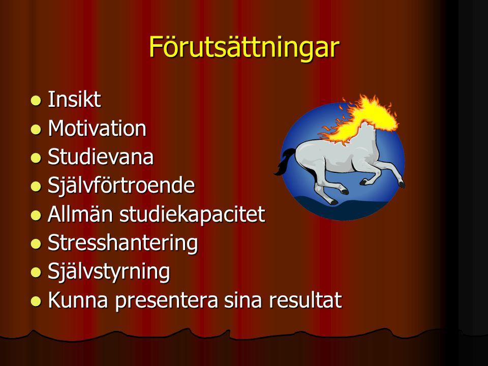 Förutsättningar Insikt Motivation Studievana Självförtroende