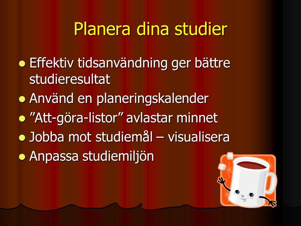 Planera dina studier Effektiv tidsanvändning ger bättre studieresultat