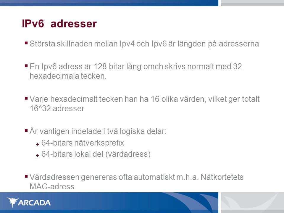 IPv6 adresser Största skillnaden mellan Ipv4 och Ipv6 är längden på adresserna.
