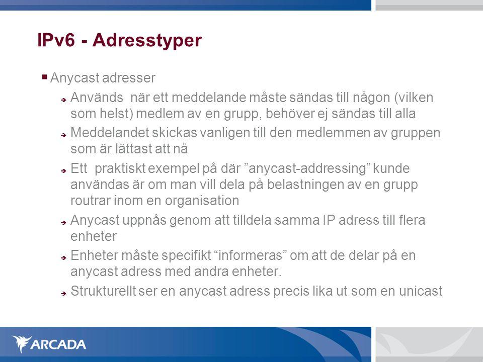 IPv6 - Adresstyper Anycast adresser