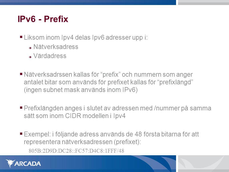 IPv6 - Prefix Liksom inom Ipv4 delas Ipv6 adresser upp i: