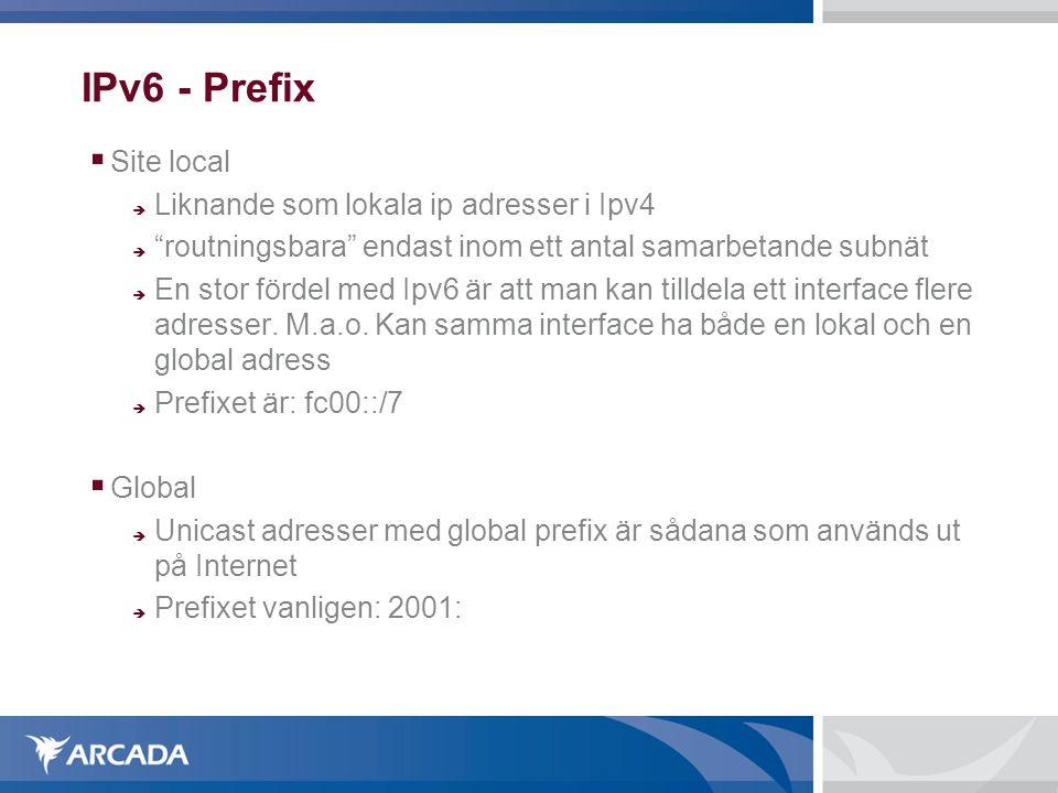 IPv6 - Prefix Site local Liknande som lokala ip adresser i Ipv4