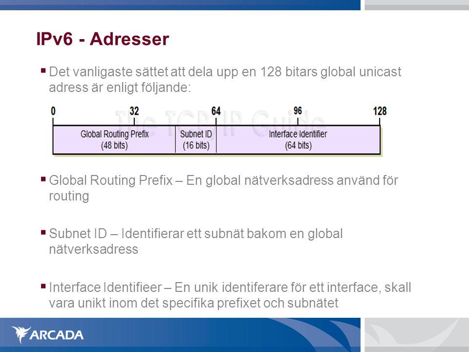 IPv6 - Adresser Det vanligaste sättet att dela upp en 128 bitars global unicast adress är enligt följande:
