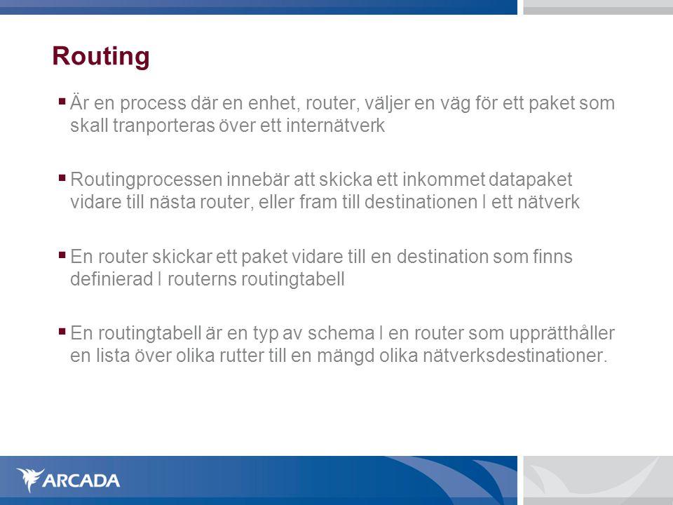 Routing Är en process där en enhet, router, väljer en väg för ett paket som skall tranporteras över ett internätverk.