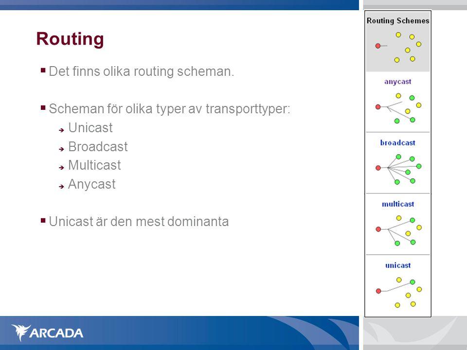Routing Det finns olika routing scheman.