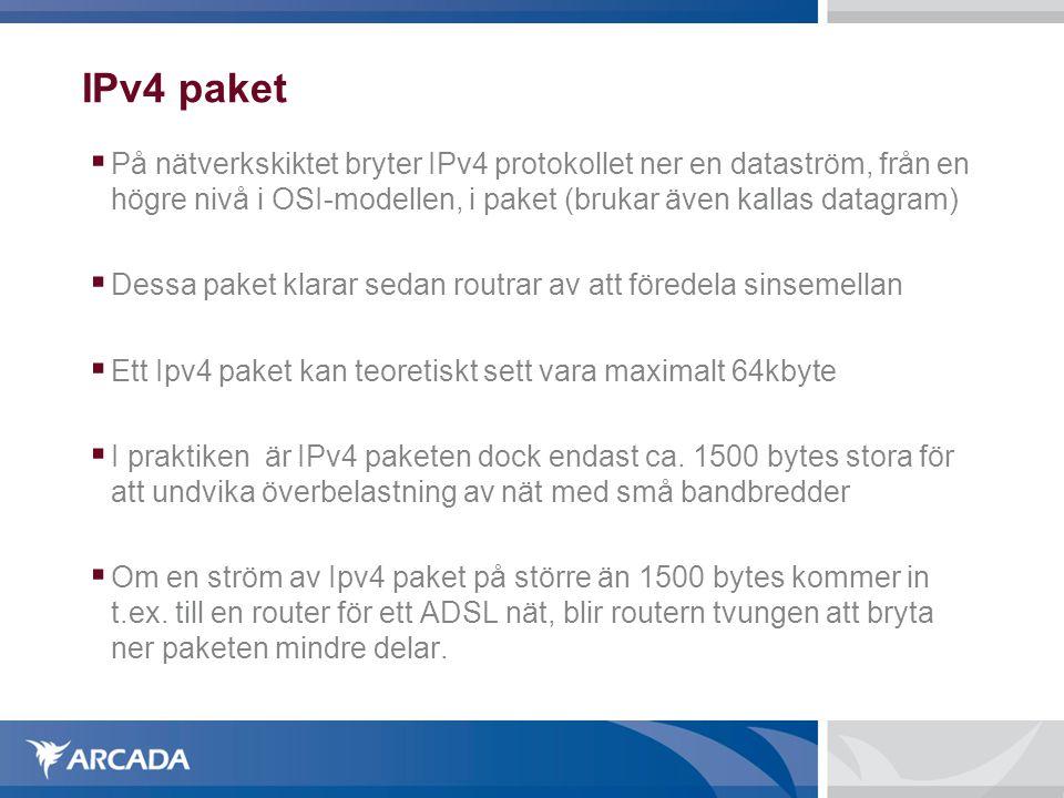 IPv4 paket På nätverkskiktet bryter IPv4 protokollet ner en dataström, från en högre nivå i OSI-modellen, i paket (brukar även kallas datagram)