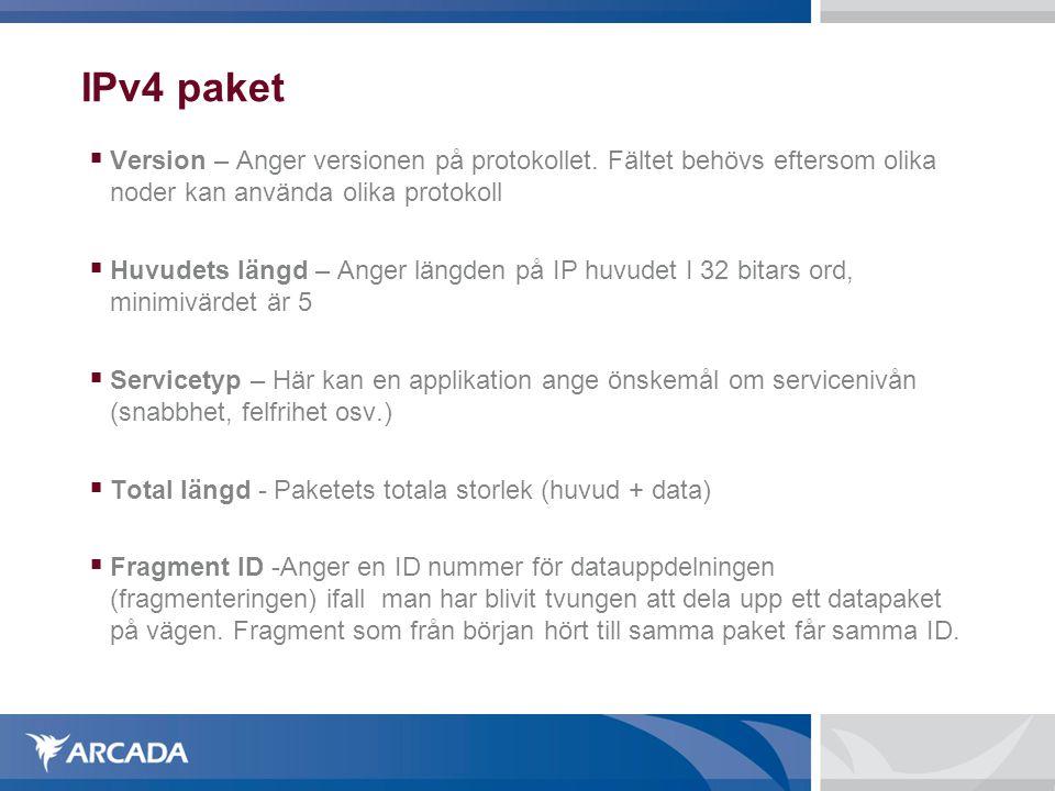IPv4 paket Version – Anger versionen på protokollet. Fältet behövs eftersom olika noder kan använda olika protokoll.