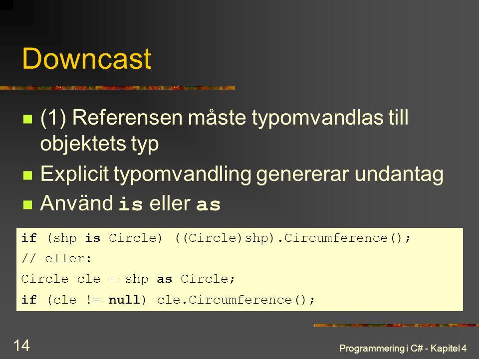 Downcast (1) Referensen måste typomvandlas till objektets typ