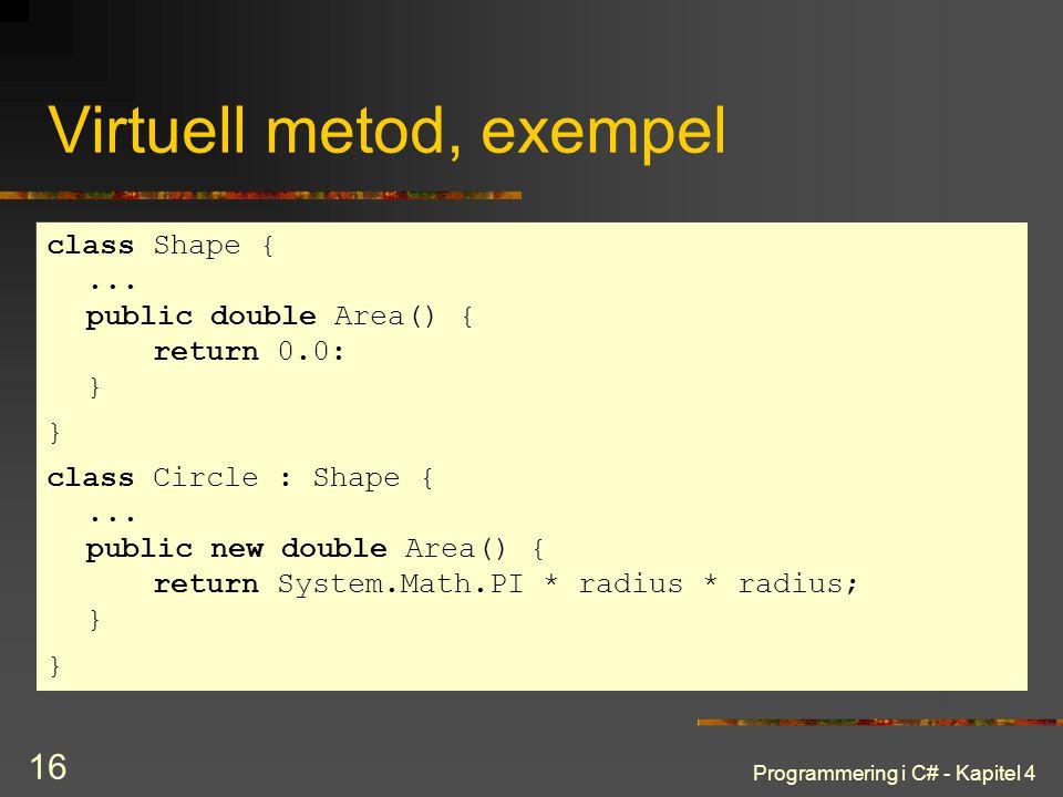 Virtuell metod, exempel