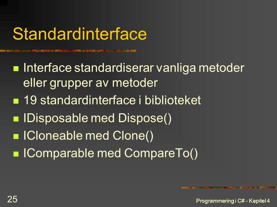 Standardinterface Interface standardiserar vanliga metoder eller grupper av metoder. 19 standardinterface i biblioteket.
