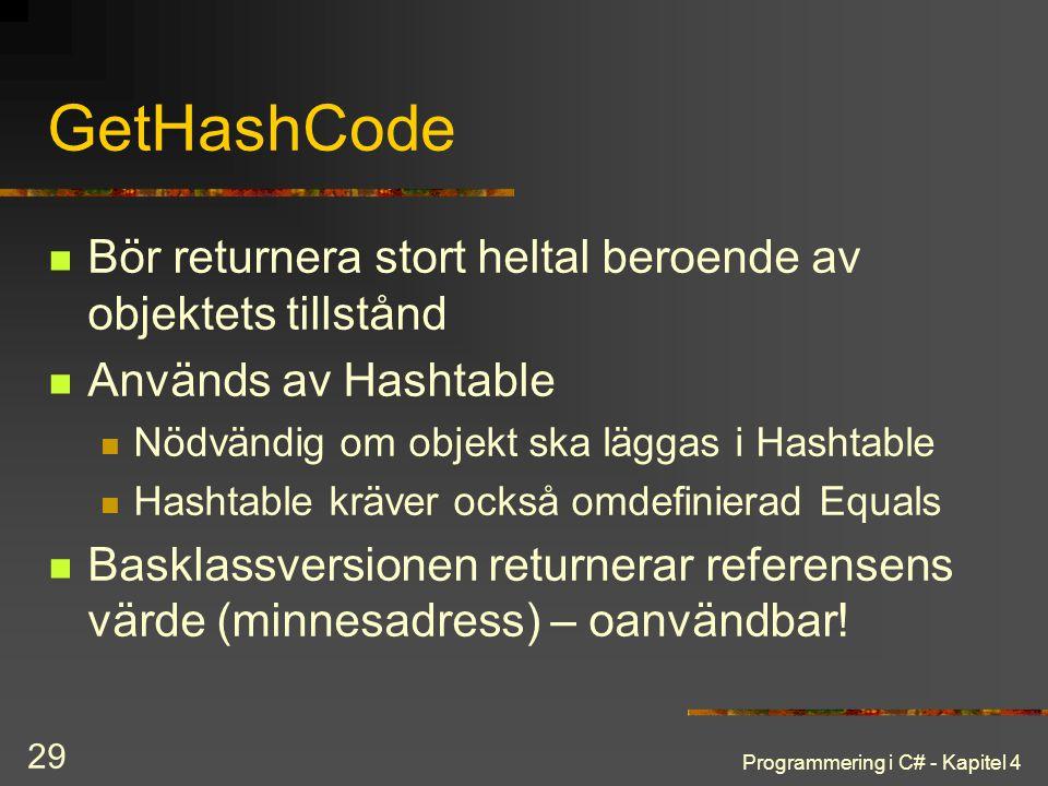 GetHashCode Bör returnera stort heltal beroende av objektets tillstånd
