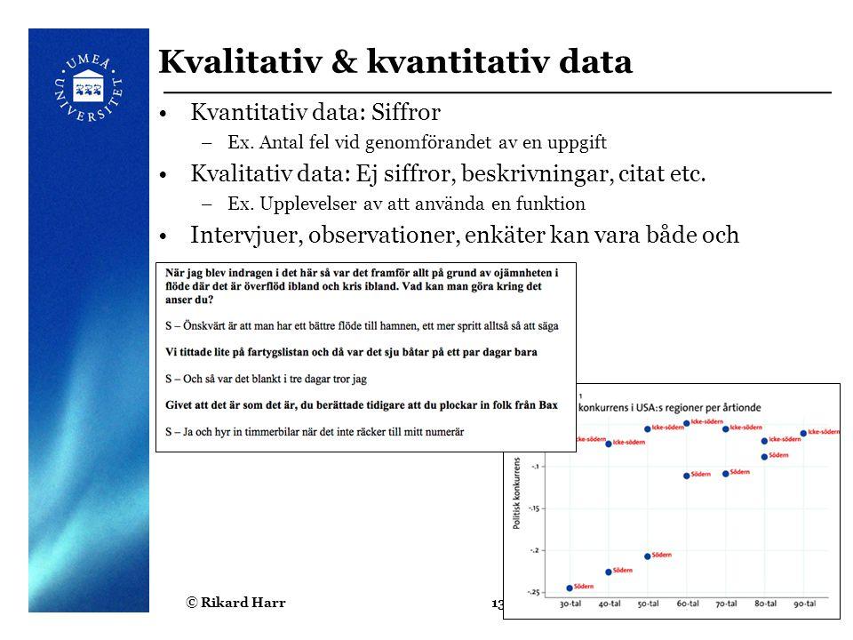 Kvalitativ & kvantitativ data