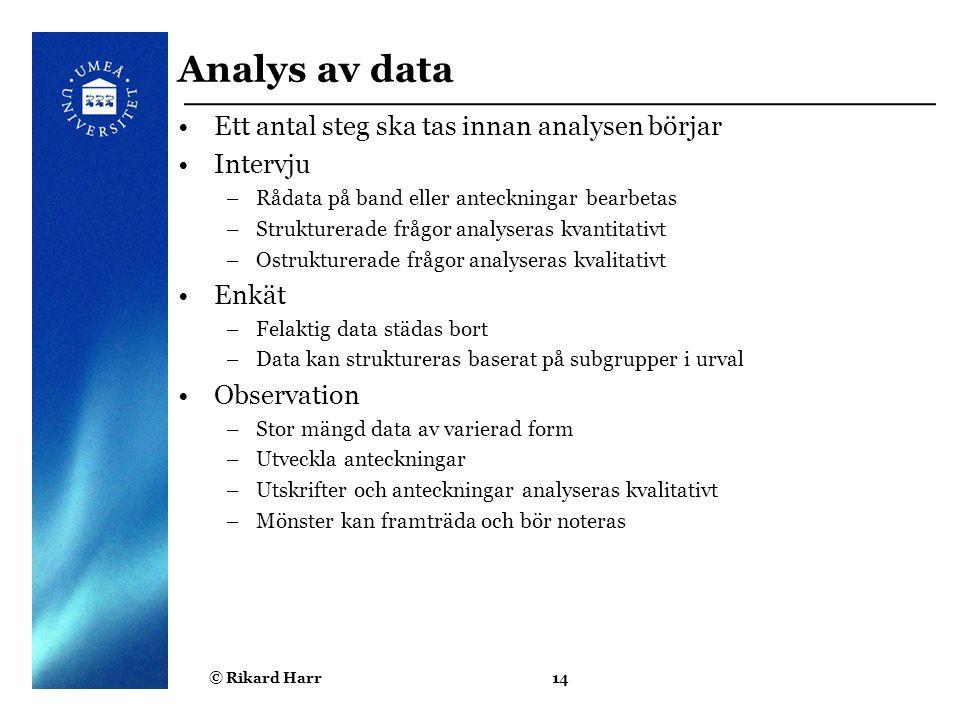 Analys av data Ett antal steg ska tas innan analysen börjar Intervju