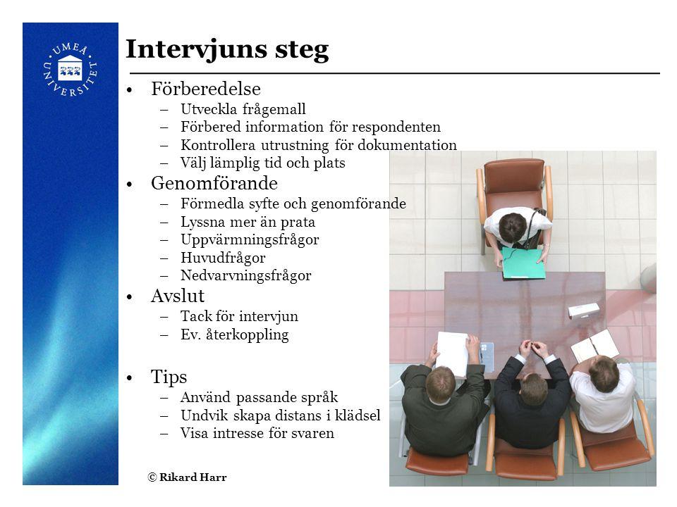 Intervjuns steg Förberedelse Genomförande Avslut Tips