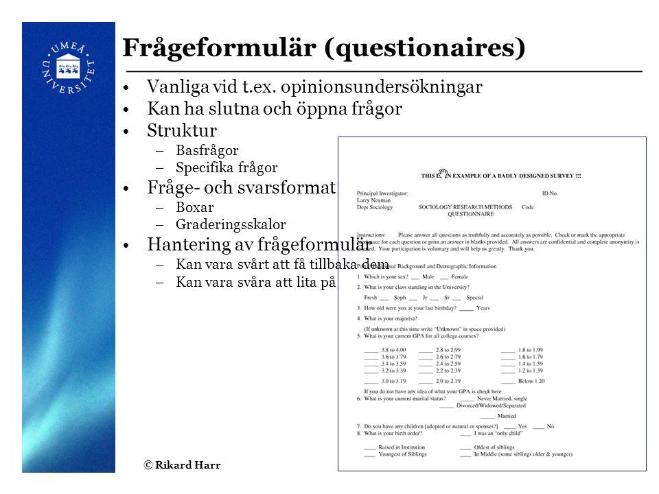 Frågeformulär (questionaires)