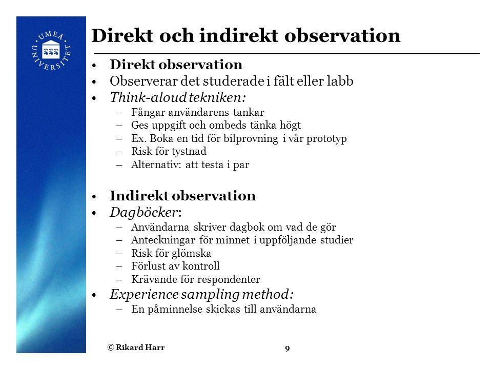 Direkt och indirekt observation
