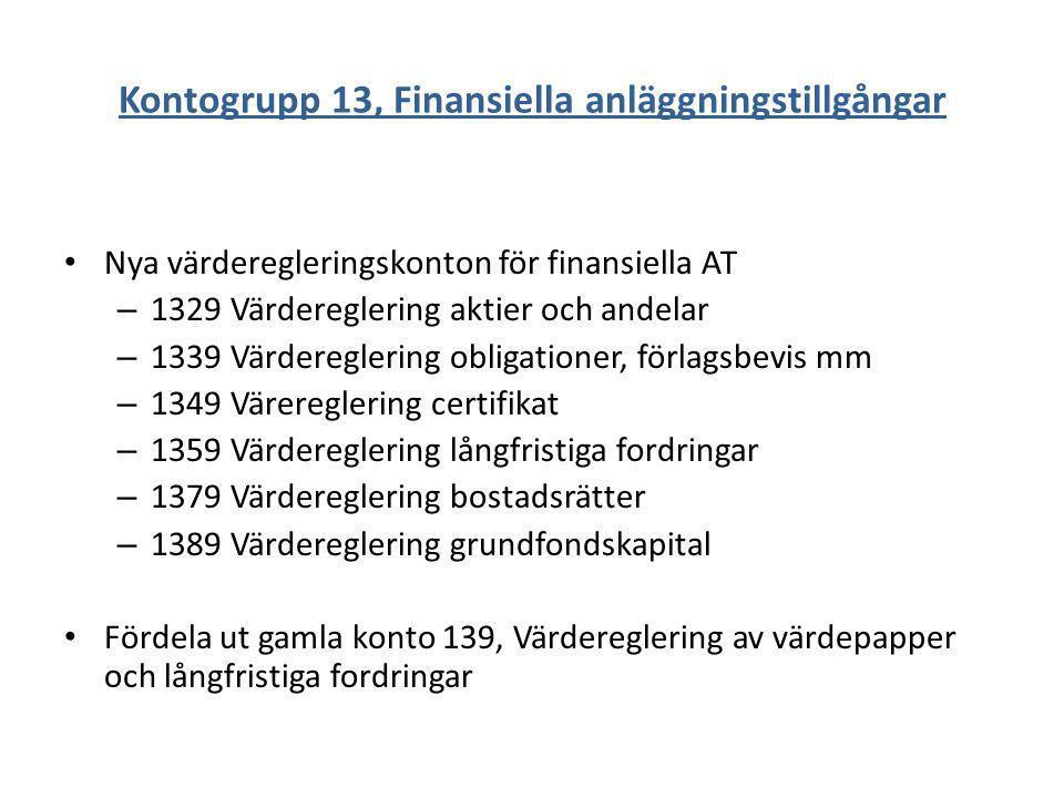 Kontogrupp 13, Finansiella anläggningstillgångar