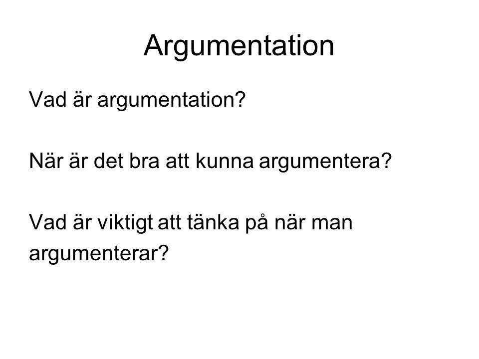 Argumentation Vad är argumentation