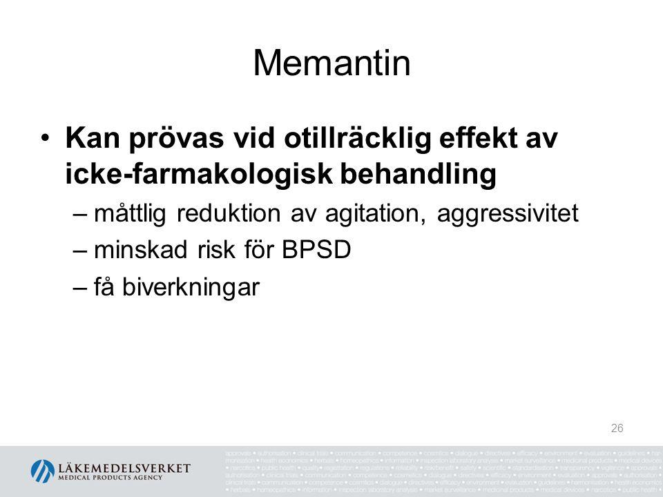 Memantin Kan prövas vid otillräcklig effekt av icke-farmakologisk behandling. måttlig reduktion av agitation, aggressivitet.