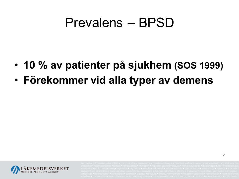 Prevalens – BPSD 10 % av patienter på sjukhem (SOS 1999)