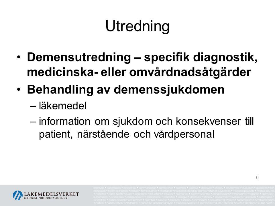 Utredning Demensutredning – specifik diagnostik, medicinska- eller omvårdnadsåtgärder. Behandling av demenssjukdomen.