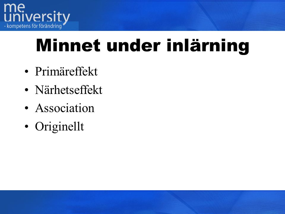 Minnet under inlärning
