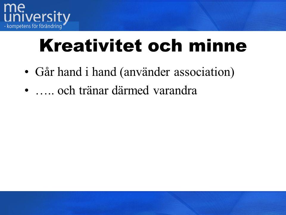 Kreativitet och minne Går hand i hand (använder association)