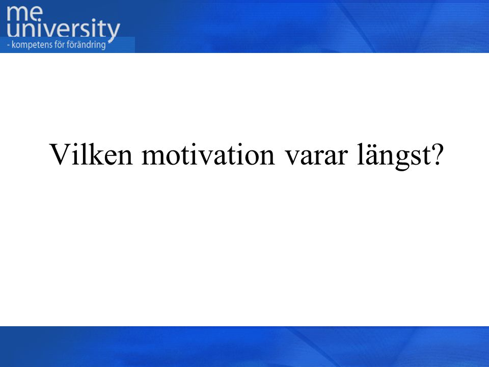 Vilken motivation varar längst