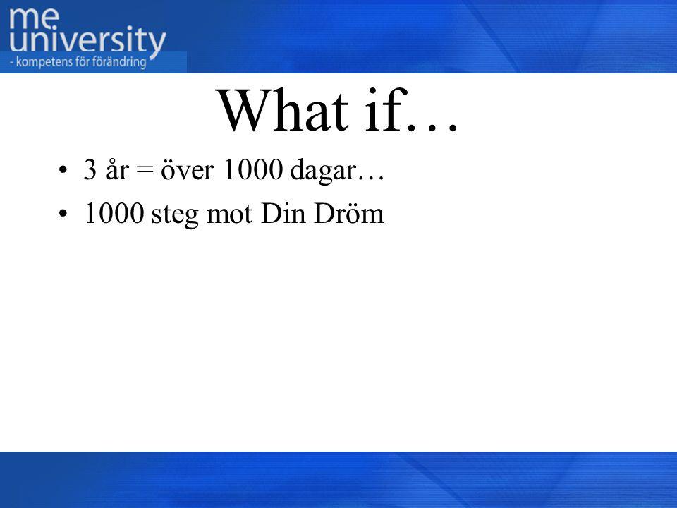 What if… 3 år = över 1000 dagar… 1000 steg mot Din Dröm