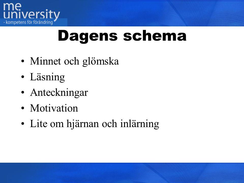 Dagens schema Minnet och glömska Läsning Anteckningar Motivation